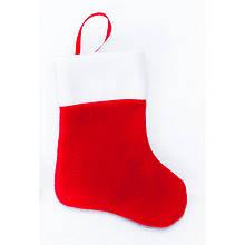 Сапожок новогодний для подарков красный 18*9,5 см