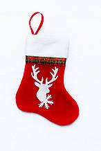 Сапожок новогодний для подарков с оленем красный 18*9,5 см
