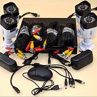 Система видеонаблюдения / Комплект из 4-х камер и ресивера / Видеонаблюдение уличное (для улицы), для квартиры