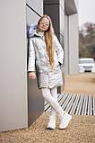 Зимняя удлиненная куртка пальто плащевка голограмма на 250 силикон и флисе размер от 128 до 158, фото 3