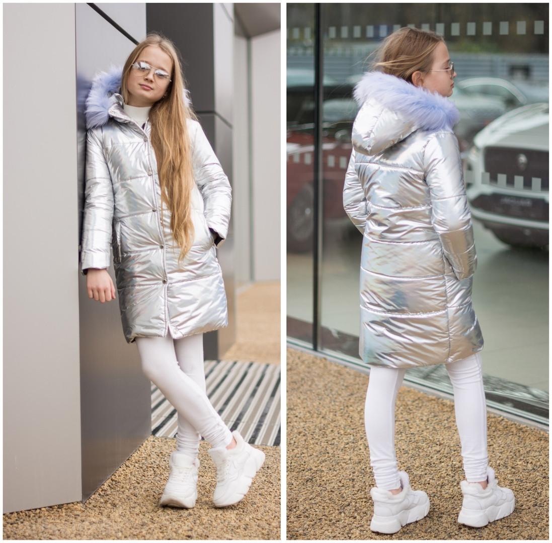 Зимняя удлиненная куртка пальто плащевка голограмма на 250 силикон и флисе размер от 128 до 158
