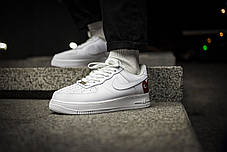 Мужские кроссовки Comme des Garcons PLAY x Nike Air Force 1 CDG White Red ( Реплика ), фото 2
