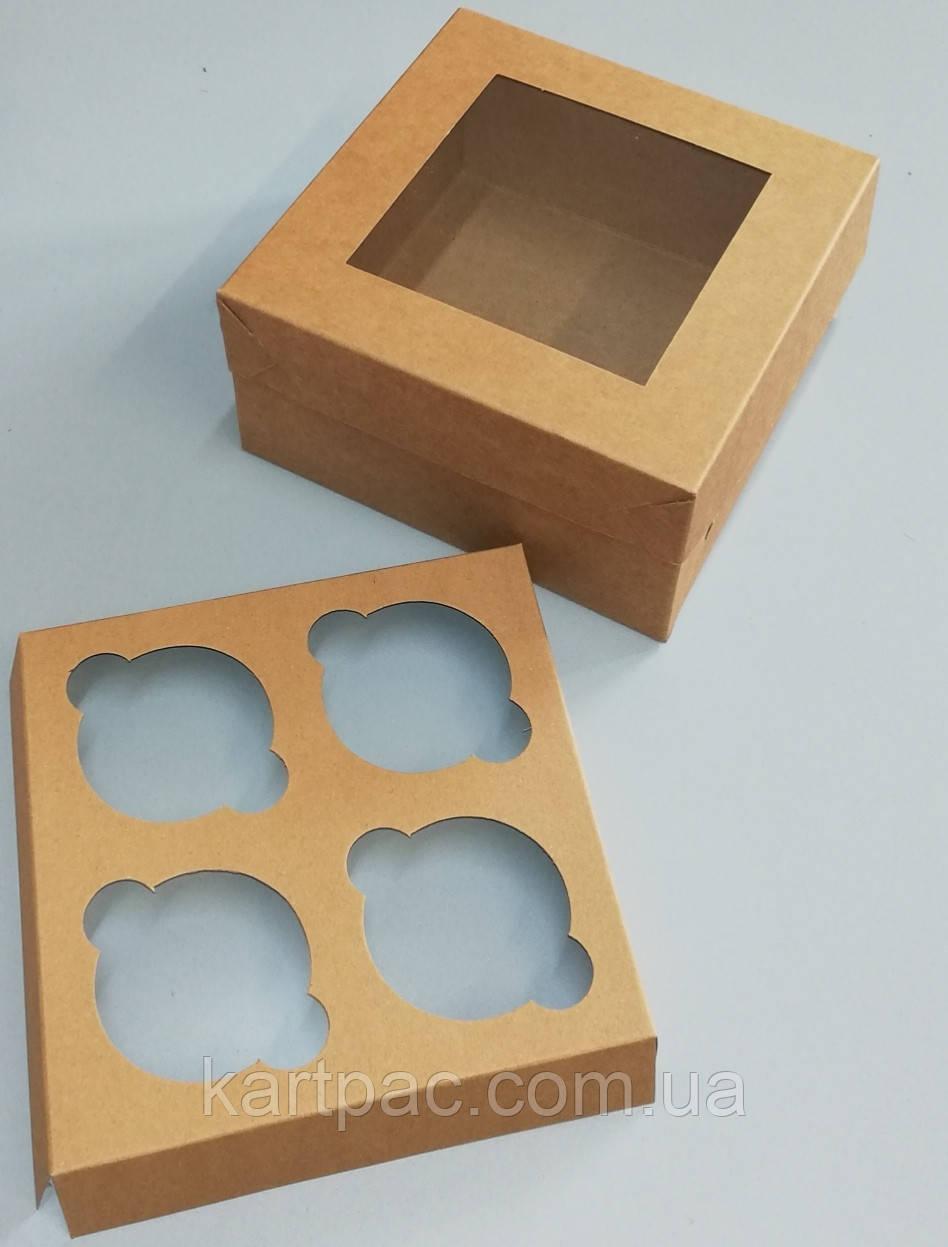 Упаковка для 4 капкейків з віконцем 170*170*90