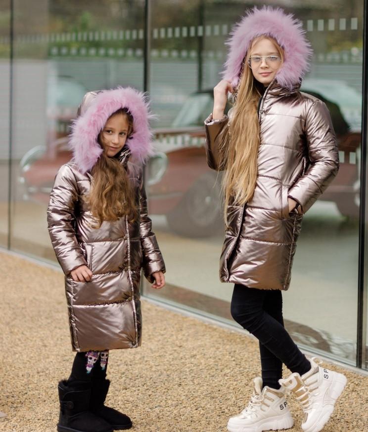 Детская зимняя куртка пальто плащевка голограмма+250 силикон+подкладка флис размер:128,134,140,146,152,158