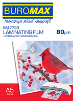 Пленка для ламинирования глянцевая 80 мкм, A5 (154х216мм), 100шт.