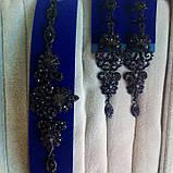 Комплект вечерние черные серьги  с  красными камнями и браслет, высота 8,5 см., фото 3