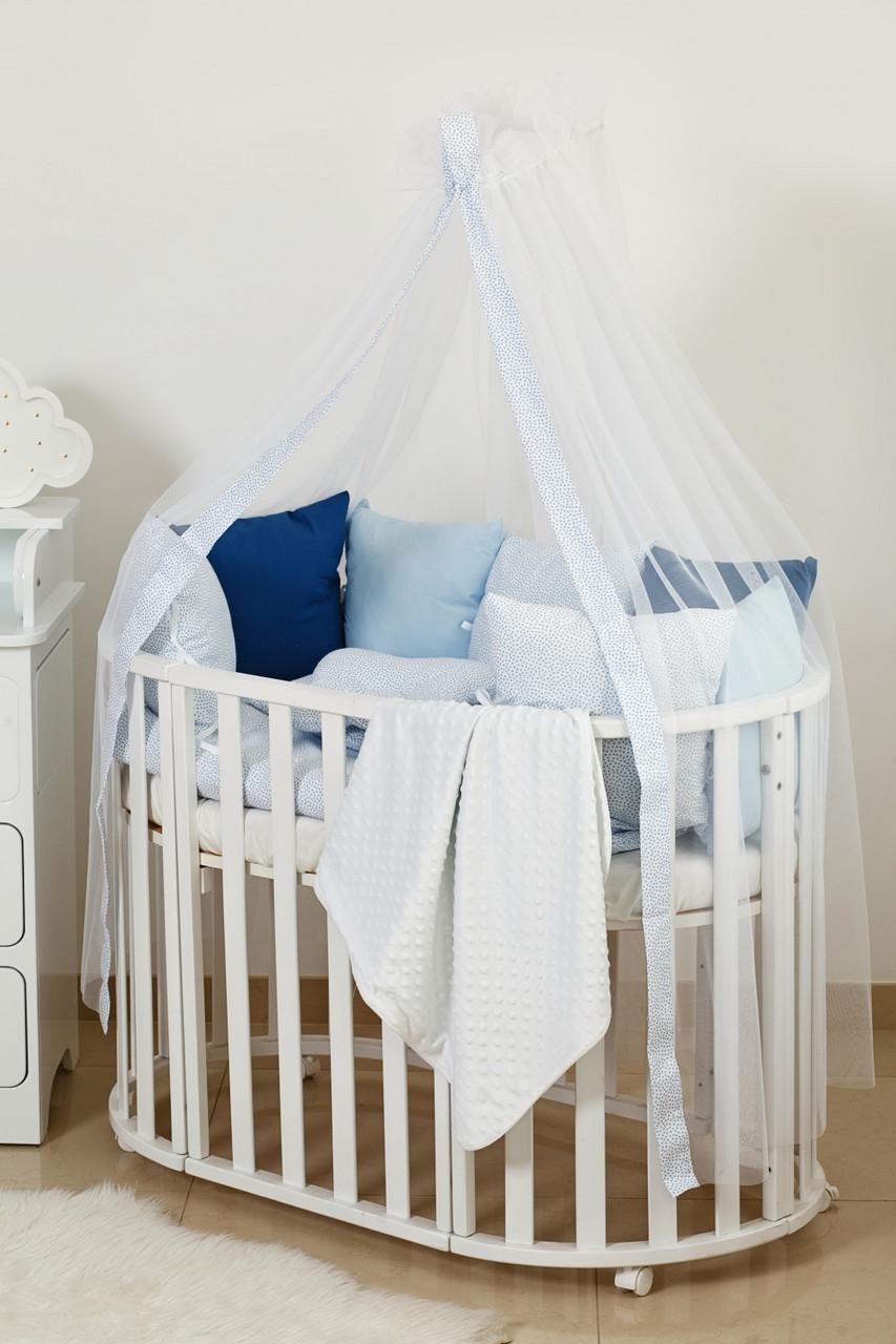 Детское постельное белье Twins Dolce E-408 Горошки blue 8 эл