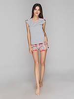 Пижама с шортами вискоза Serenade Меланж\Газета