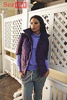 Куртка женская короткая на кнопках - Сливовый