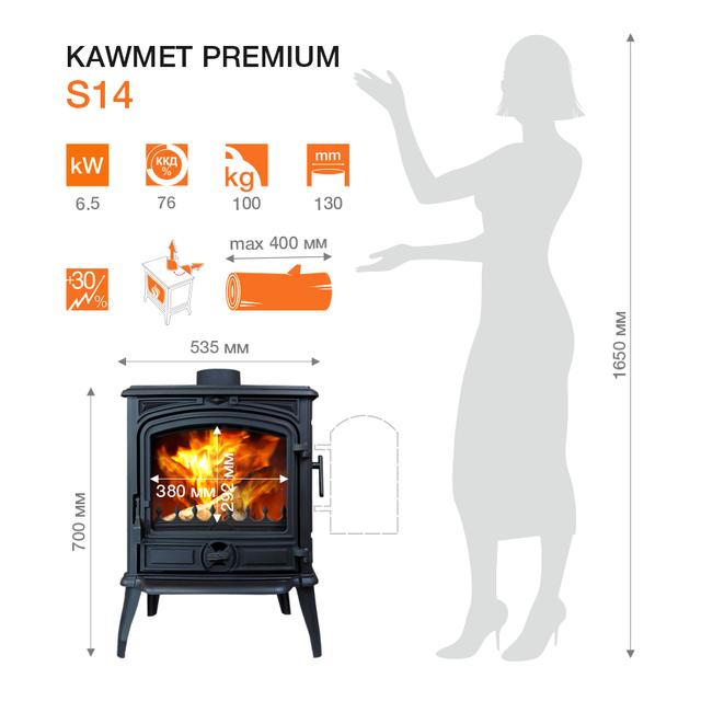 Печь камин чугунная KAWMET Premium