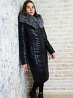 Пуховик из экокожи с капюшоном длинна 100см с натуральным мехом чернобурки оптом и в розницу