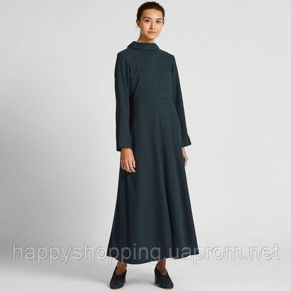 Женское темно-зеленое фланелевое платье свободного кроя Uniqlo +Hana Tajima