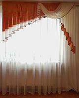 Ламбрекен ассиметрия 2м  Оранж разводы, фото 1