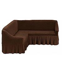 Чехол на угловой диван с юбкой Коричневый Home Collection Evibu Турция 50039