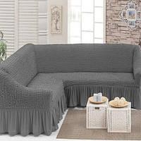 Чехол на угловой диван с юбкой Серый Home Collection Evibu Турция 50040