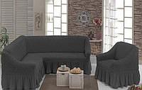 Чехол с юбкой на угловой диван и кресло Графит Evibu Турция 50043