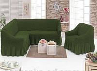 Чехол с юбкой на угловой диван и кресло Зеленый Evibu Турция 50090