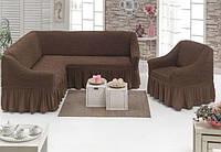 Чехол с юбкой на угловой диван и кресло Кофейный Evibu Турция 50073