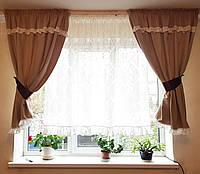 Комплект  штор и тюль  Беж с рюшами до подоконника, фото 1
