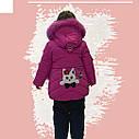 Зимовий комбінезон на дівчинку куртка+напівкомбінезон малинового кольору, фото 3