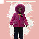 Зимний комбинезон на девочку куртка+полукомбинезон малинового цвета, фото 5