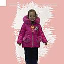 Зимовий комбінезон на дівчинку куртка+напівкомбінезон малинового кольору, фото 6