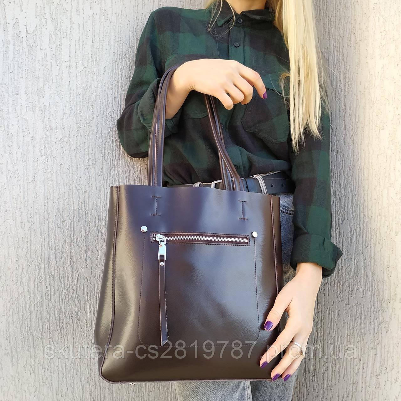 """Женская кожаная сумка  для документов коричневая""""Стелия Brown"""", фото 1"""