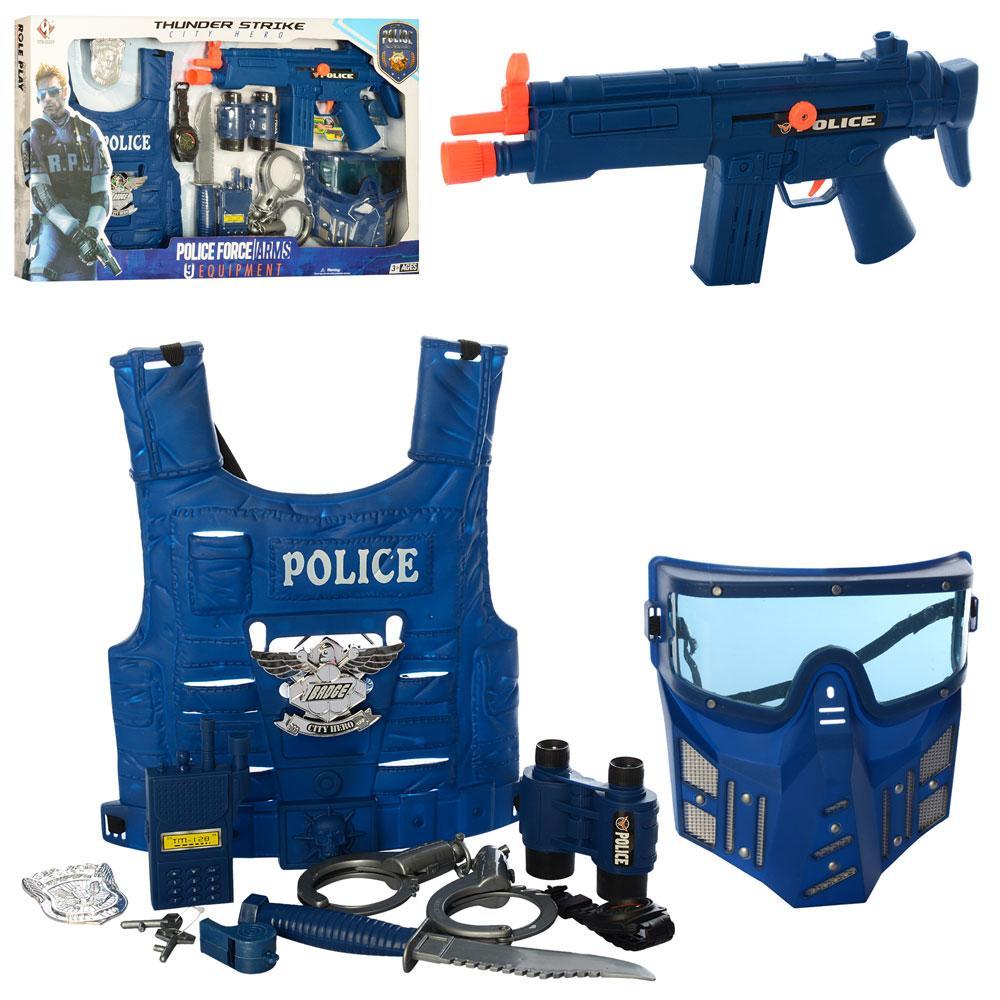 Набор полицейского, автомат-трещотка, маска, жилет, наручники, бинокль, нож, P013