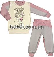 Детская пижама с начёсом рост 116 (5-6 лет) интерлок розовый на девочку для детей Д-886
