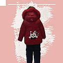 Зимний комбинезон на девочку куртка+полукомбинезон красного цвета, фото 3