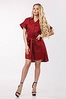 Женское платье-рубашка асимметричное с воланами по рукаву Lipar Марсала