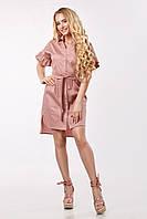 Женское платье-рубашка асимметричное с воланами по рукаву Lipar Фрез