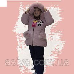 Зимовий комбінезон на дівчинку куртка+напівкомбінезон кольору пудри