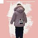 Зимовий комбінезон на дівчинку куртка+напівкомбінезон кольору пудри, фото 3