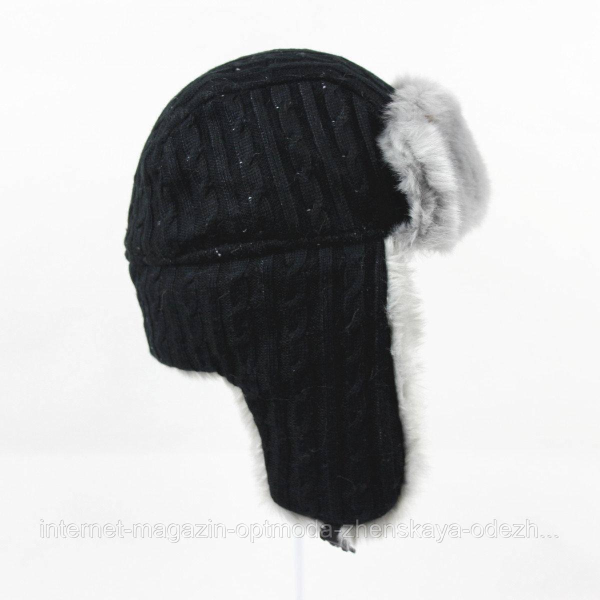 Зимняя шапка-ушанка с искусственным мехом