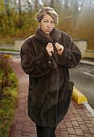 Шуба норкова жіноча великого розміру сіра Батал Модел  296546788