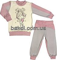 Детская пижама с начёсом рост 122 (6-7 лет) интерлок розовый на девочку для детей Д-886