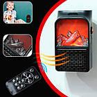 Електричний портативний міні-обігрівач камін з пультом Flame Heater 900W ОПТ, фото 4