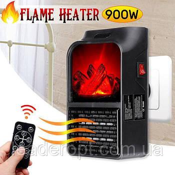 Електричний портативний міні-обігрівач камін з пультом Flame Heater 900W ОПТ