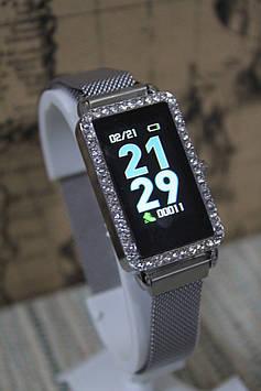 Смарт годинник розумні А 88 сріблястий металевий браслет