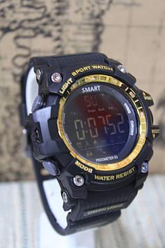 Спортивні розумні годинник Smart Watch EX 16 водонепроникні, Bluetooth чорний з золотом