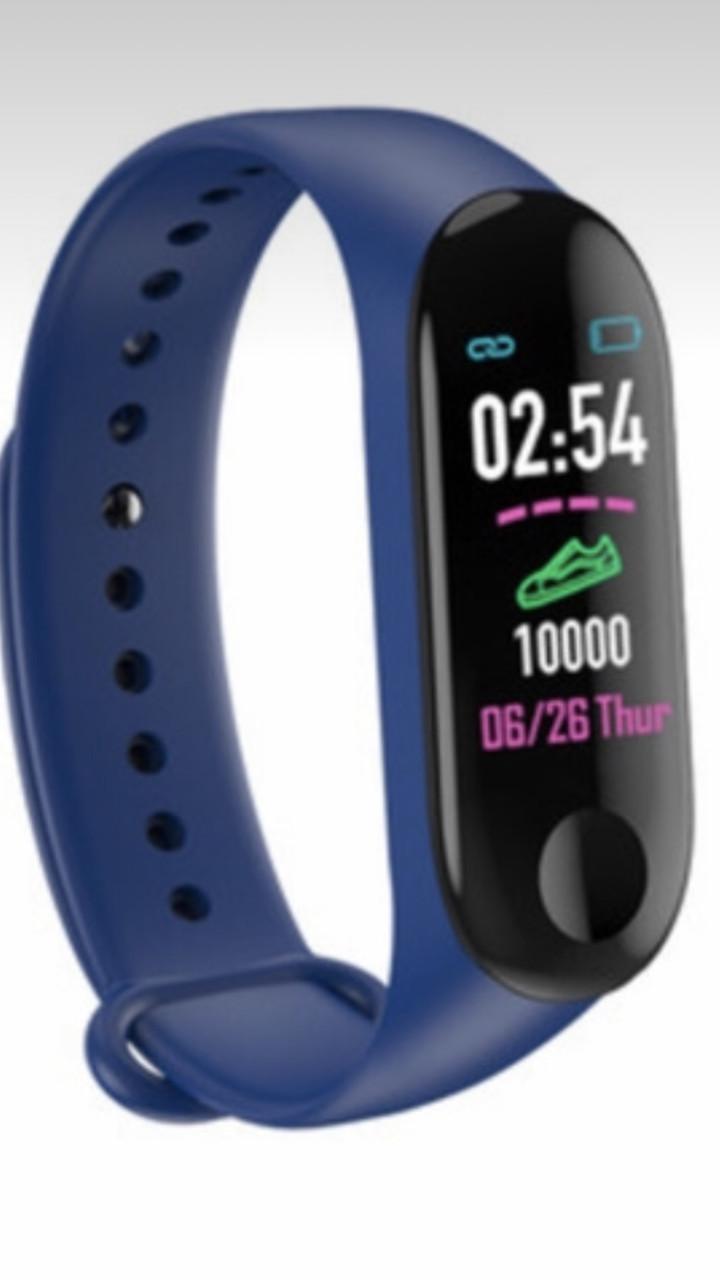Спортивный фитнес браслет M3 plus  цветной экран синий
