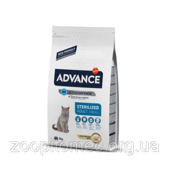 Корм для стерилизованных котов ADVANCE (Эдванс)Cat Sterilized с индейкой, 3 кг