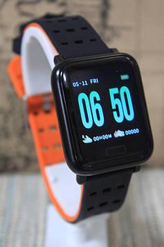 Спортивні ексклюзивні розумні годинник Smart Watch А6 м20 помаранчевий браслет