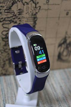 Розумний фітнес браслет Smart QW16 tonometr синій з срібні циферблатом