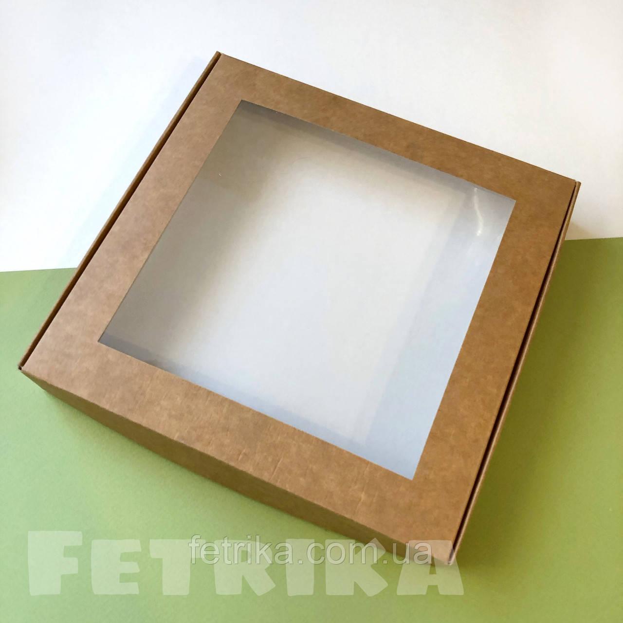Коробка из крафт-картона с окошком 200*200*30 мм