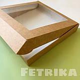 Коробка из крафт-картона с окошком 200*200*30 мм, фото 2