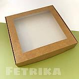 Коробка из крафт-картона с окошком 200*200*30 мм, фото 3