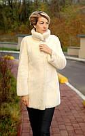 Шуба норковая натуральная женская молочного цвета Модель 273409