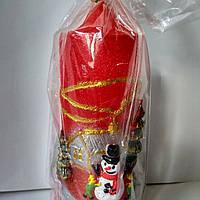 Свеча новогодняя цилиндр красный со снеговиком, фото 1